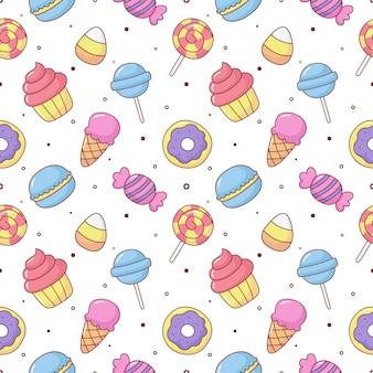 Süße süßigkeiten nahtlose muster süßigkeiten desserts isoliert