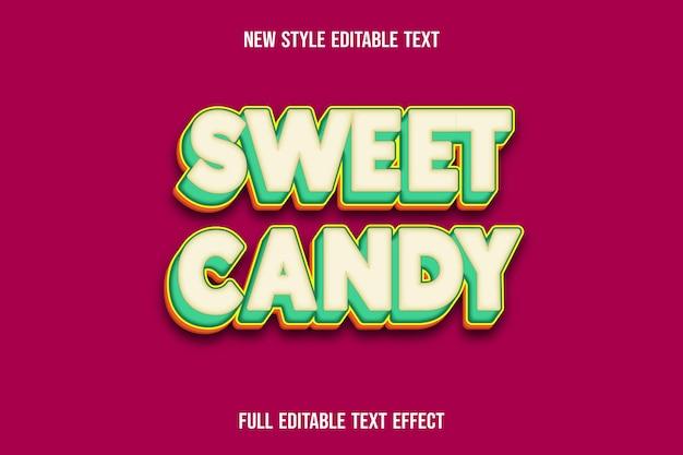 Süße süßigkeitenfarbe des texteffekts 3d gelb und grün