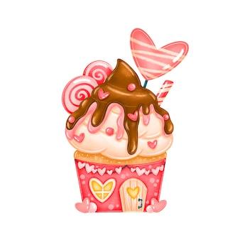 Süße süßigkeitenhausillustration des valentinstags lokalisiert. valentinstag liebe cupcake.