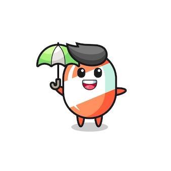 Süße süßigkeitsillustration, die einen regenschirm hält, niedliches artdesign für t-shirt, aufkleber, logoelement