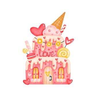 Süße süßigkeitskuchenhausillustration des valentinstags lokalisiert