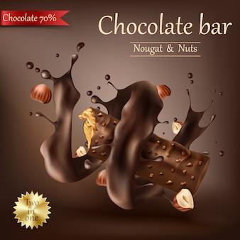 Süße tafel schokolade mit geschmolzener schokolade