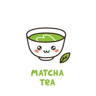 Süße tasse tee matcha matcha japanischer grüntee in pulverform