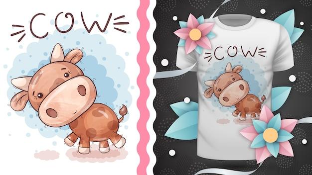 Süße teddykuh - idee für print-t-shirt. hand zeichnen