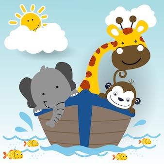 Süße tiere auf dem boot, cartoon