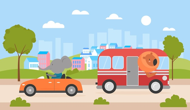 Süße tiere fahren auto und bus auf der stadtstraße löwe fahrender bus lustiger elefant unterwegs