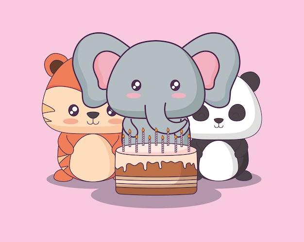 Süße tiere feiern party kawaii zeichen
