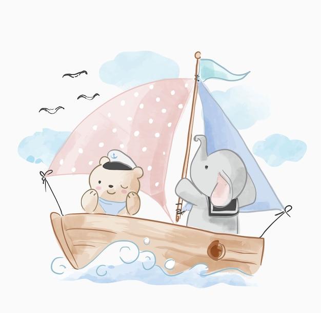 Süße tiere freund segeln auf dem boot