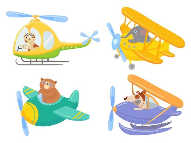 Süße tiere im luftverkehr. tierpilot, haustier im hubschrauber und flugzeugreisekinder. flugzeugtransport, flugtierabenteuer. isolierte karikaturillustrationsikonen gesetzt