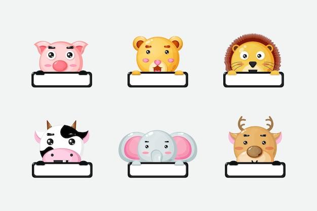 Süße tiere mit markennamen-cartoon