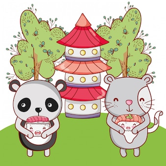 Süße tiere mit sushi kawaii