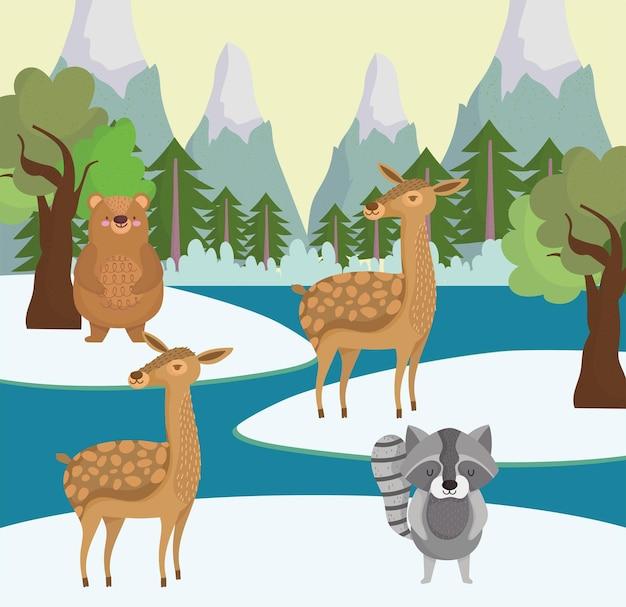 Süße tiere und winterlandschaft