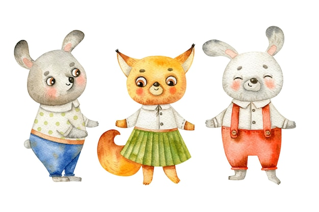 Süße tierkinder in kleidung