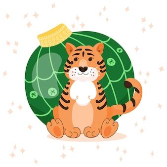 Süße tiger-cartoon-figur in der nähe von baumspielzeug. vektor