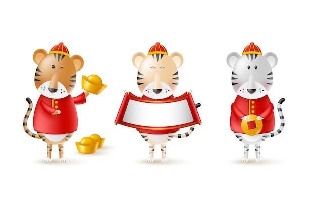 Süße tiger des chinesischen neujahrsfests. lustige charaktere im cartoon-3d-stil. jahr des tierkreises tiger. glückliche tiger mit goldmünze, barren und schriftrolle. getrennt auf weiß. vektor-illustration.