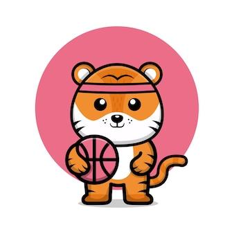 Süße tiger spielen basketball-cartoon-illustration