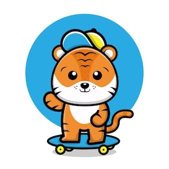 Süße tiger spielen skateboard cartoon illustration
