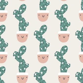 Süße töpfe mit kakteen. vektor nahtlose muster. lustige gesichter lächeln. trendiger handgezeichneter skandinavischer cartoon-doodle-stil. minimalistische pastellpalette. ideal für babytextilien, stoffe, kleidung.