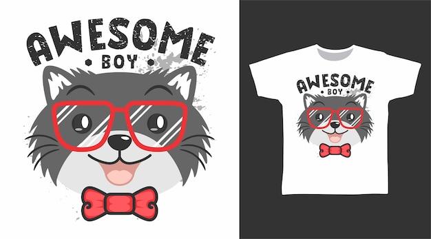 Süße tolle katze mit brillen-t-shirt-design
