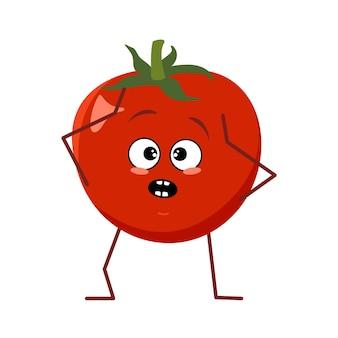 Süße tomatenfigur mit emotionen in panik packt seinen kopf isoliert auf weißem hintergrund. der lustige oder traurige held, rotes obst und gemüse. flache vektorgrafik