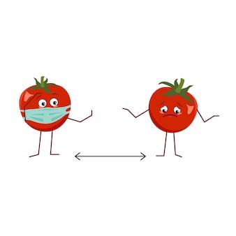 Süße tomatenfigur mit maske halten abstand isoliert auf weißem hintergrund. der lustige oder traurige held, rotes obst und gemüse. flache vektorgrafik