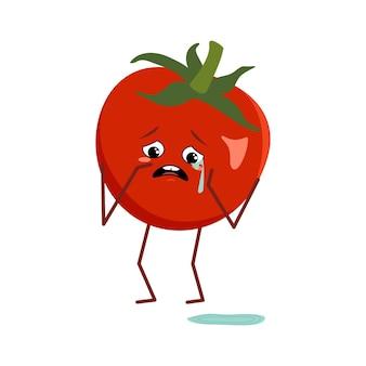 Süße tomatenfigur mit weinen und tränen emotionen isoliert auf weißem hintergrund. der lustige oder traurige held, rotes obst und gemüse. flache vektorgrafik