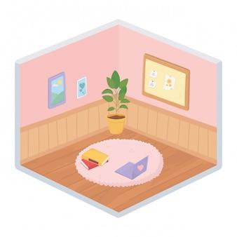 Süße topfpflanzenbücher auf teppich-notizbrettrahmen isometrischer stil