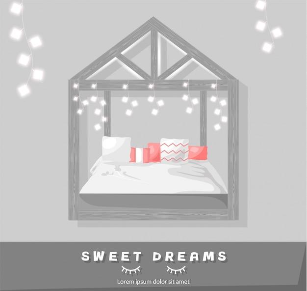 Süße träume, gemütliches schlafzimmer