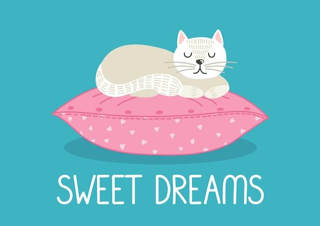 Süße träume nette weiße katze, die auf rosa kissen schläft