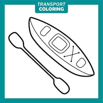 Süße transportfahrzeug-cartoon-figuren mit kajak ausmalen