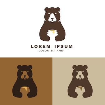 Süße umarmungshonigvektorlogo-ikonenillustration des bären