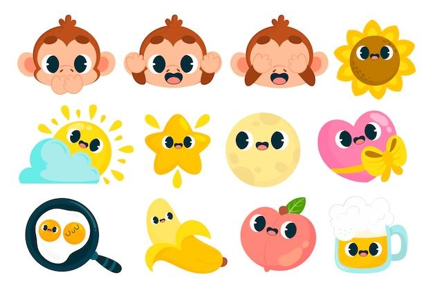 Süße und bunte emoji-aufkleber