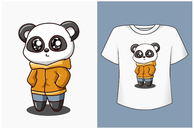 Süße und coole panda-cartoon-illustration