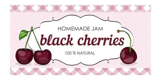 Süße und gesunde hausgemachte marmelade mit schwarzen kirschen