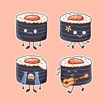 Süße und kawaii würzige thunfischrolle sushi character illustration