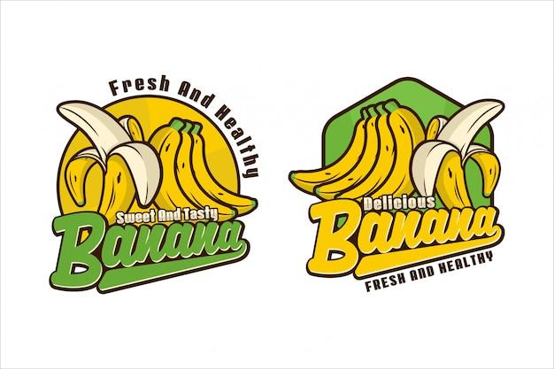 Süße und leckere bananen-logo-design-kollektion