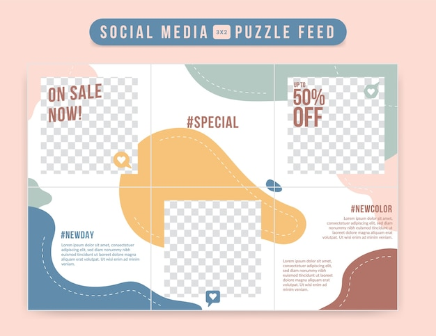 Süße und niedliche bearbeitbare social-media-gitter-post-puzzle-feed-design-vorlage in abstrakter flacher pastellflüssigkeit, trendig weich mit liebesikone
