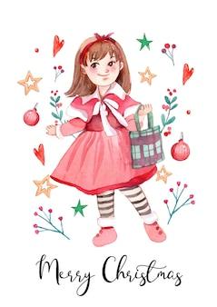 Süße und süße weihnachtsmädchen-charakter-aquarell-karte