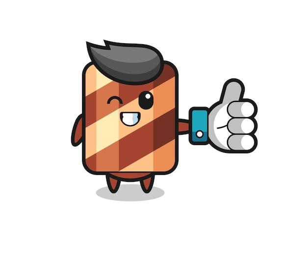Süße waffelrolle mit social-media-daumen hoch symbol, süßes design für t-shirt, aufkleber, logo-element