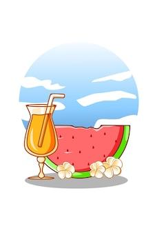 Süße wassermelone mit orangensaft in der sommerkarikaturillustration