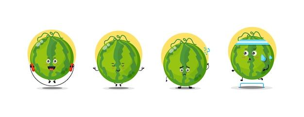 Süße wassermelonen-charaktersammlung