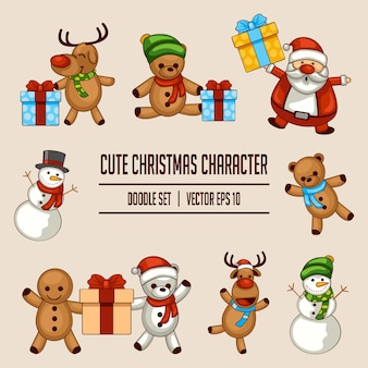 Süße weihnachten charakter doodle set