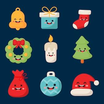 Süße weihnachten zeichen flache icon-set isoliert auf blau