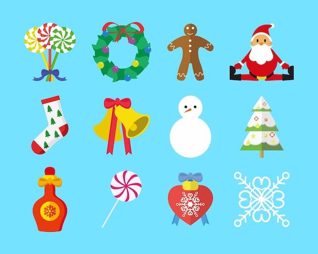 Süße weihnachts-grafik-set