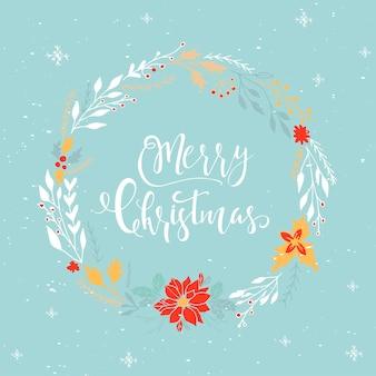 Süße weihnachtsgeschenkkarte mit schriftzug frohe weihnachten, magische momente. einfach bearbeitbare vorlage. moderne illustration für postkarte, poster, t-shirt, banner.