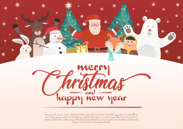 Süße weihnachtsgrüße mit weihnachtsmann und freunden