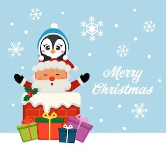 Süße weihnachtsgrußkarte mit weihnachtsmann und pinguin auf dem dach