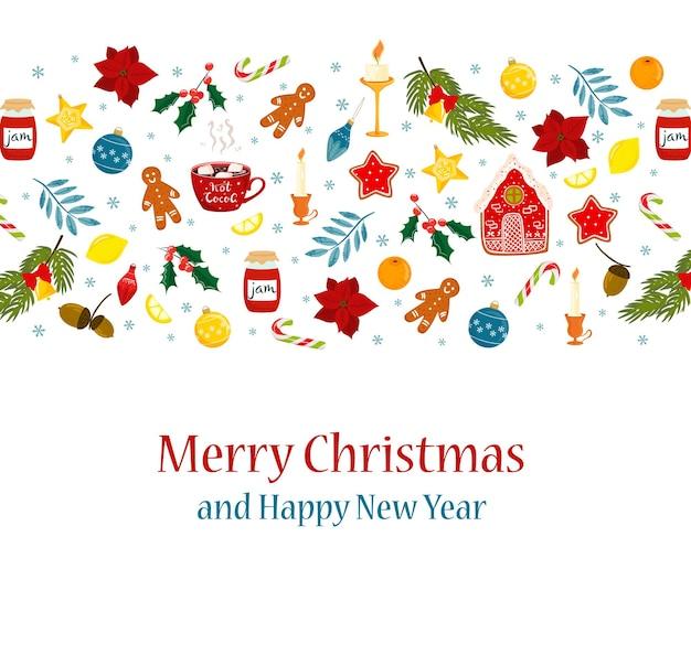 Süße weihnachtskartenelemente im cartoon-stil lebkuchenmann heiße schokoladenbecher süßigkeiten dekorationen