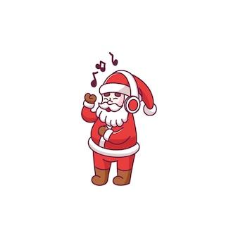 Süße weihnachtsmann-cartoon-figur, die musik hört