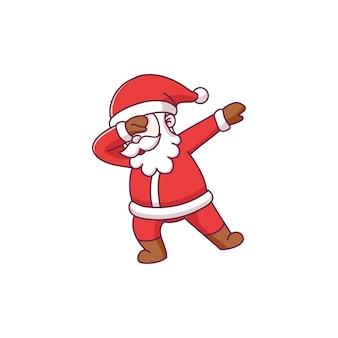 Süße weihnachtsmann-cartoon-figur mit tupfender pose